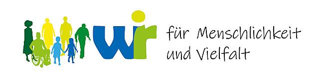 Logo der Aktion Wir für die Menschlichkeit und Vielfalt!