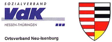 Logo des VdK Hessen-Thüringen, Ortsverband Neu-Isenburg, mit dem Stadtwappen von Neu-Isenburg