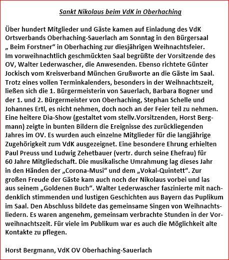 Artikel Weihnachtsfeier.Weihnachtsfeier 2015 Im Bürgersaal In Oberhaching Sozialverband