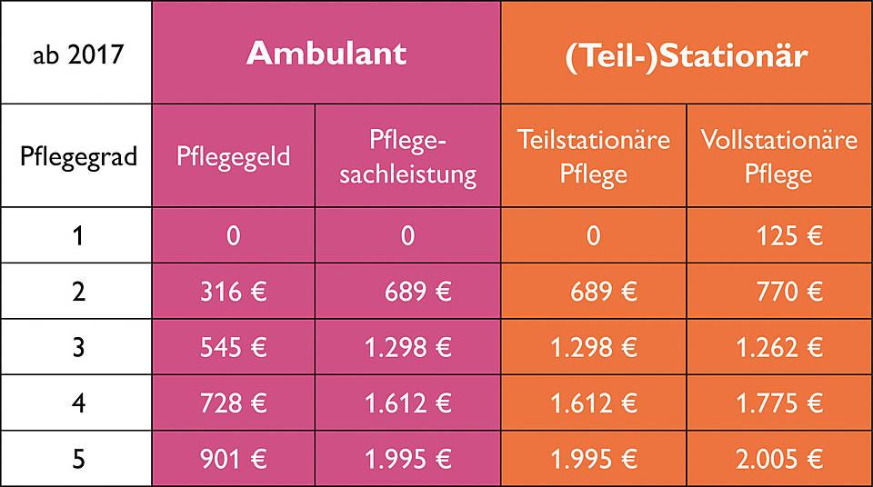 die tabelle zeigt die leistungsbetrge in der pflege in 2017 - Widerspruch Pflegestufe Muster